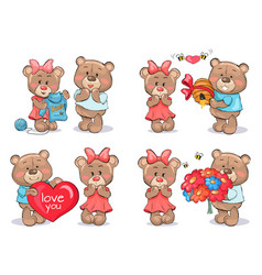 Adorable teddy bears couples exchange presents vector