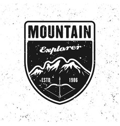 adventure traveling badge with mountains vector image