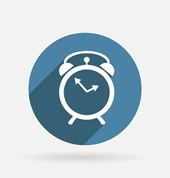 alarm clock Circle blue icon with shadow vector image