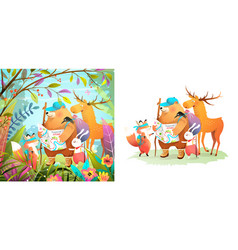 animals explore and hike in forest collection vector image
