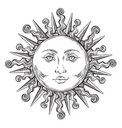 Antique style hand drawn art sun boho chic tattoo vector