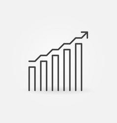 Bar chart with arrow linear concept icon vector