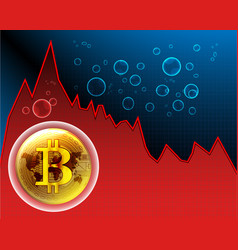 Bitcoin bubble and world map on the stock maket vector