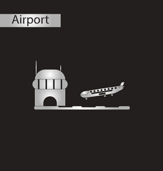 Black and white style icon airplane lands airport vector