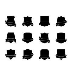 black shield labels with ribbons heraldic royal vector image