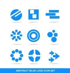 Blue icon logo element set vector image