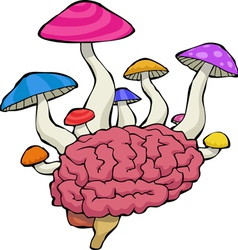 brain with mushrooms vector image vector image