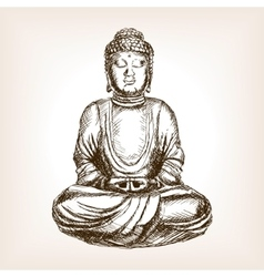 Buddha statue hand drawn sketch style vector