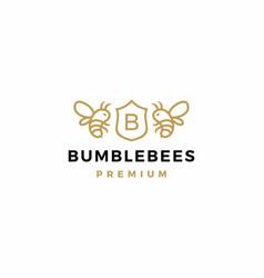 bumble bee coat arms logo icon vector image