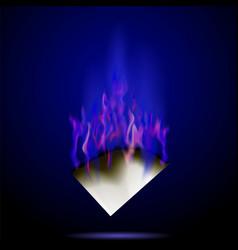 Burning white paper isolated on dark background vector