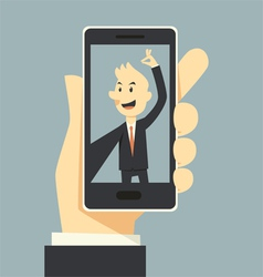 Businessman taking selfie phot vector