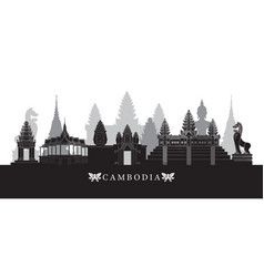 cambodia landmarks skyline in black and white vector image