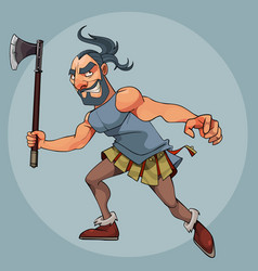 Cartoon man in a gladiator costume with an ax in vector