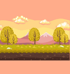 Cartoon seamless landscape background horizontal vector