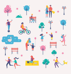Characters spend leisure time in spring park set vector