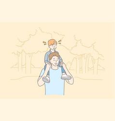 childhood fatherhood support walking concept vector image
