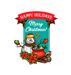 christmas holiday gift and snowman sketch card vector image