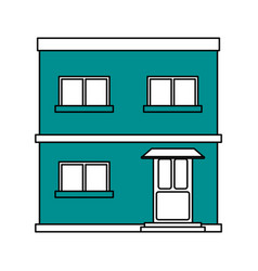 color silhouette cartoon blue facade apartment vector image