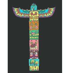 Color Totem pole with animals vector