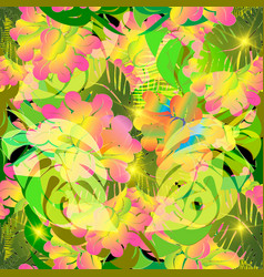 colorful tropical flowers seamless pattern vector image