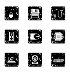 Computer icons set grunge style vector