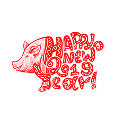 Cute pig snout in red color with happy new year vector