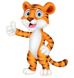 Cute tiger cartoon giving thumb up vector image