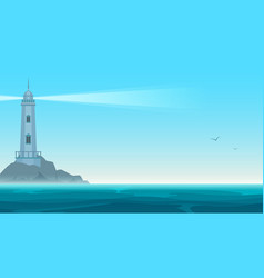 elegant lighthouse on rock island vector image