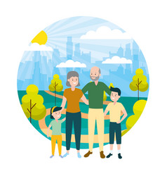 family people outdoors vector image