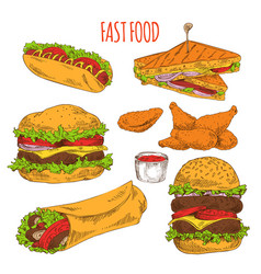 Fast food collection of tasty snacks colorful card vector