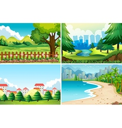Four nature scene at daytime vector image