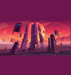 Futuristic landscape alien planet with rocks vector