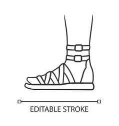 Gladiator sandals linear icon woman stylish vector