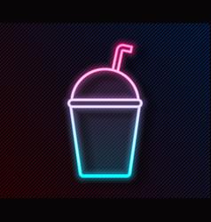 Glowing neon line milkshake icon isolated on black vector
