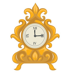 golden clock in baroque style dial with hands vector image