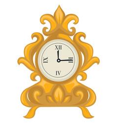 Golden clock in baroque style dial with hands vector