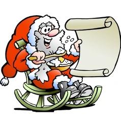 Hand-drawn an santa claus looks on his wish vector
