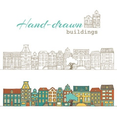 Hand-drawn buildings vector