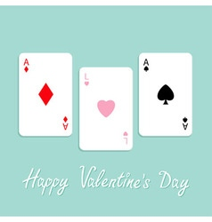 Happy Valentines Day Love background Poker playing vector