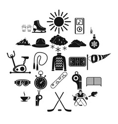 hockey icons set simple style vector image