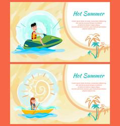 hot summer text sample set vector image