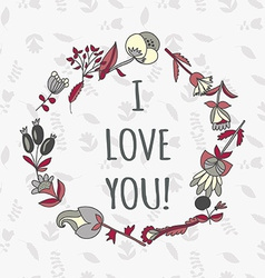 I love you postcard Cute retro card with flowers vector image