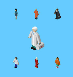 Isometric human set of male investor medic and vector