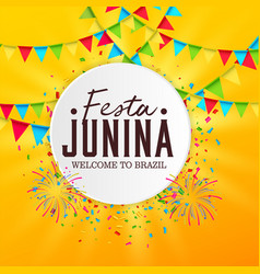 June party festa junina with party flags vector