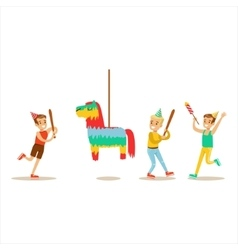 Kids Playing With Horse Shaped Pinata Kids vector