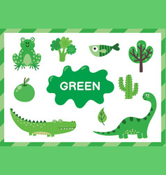 Learning color green educational poster vector