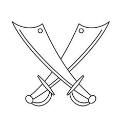 line art black and white crossed scimitars vector image