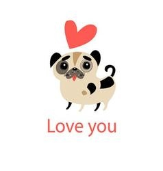 little funny in love with a puppy vector image