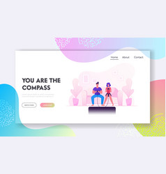 man woman leisure spare time website landing page vector image