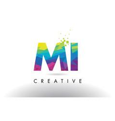 Mi m i colorful letter origami triangles design vector